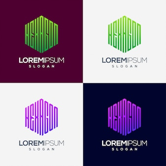 Esagono colorato design del logo sfumato