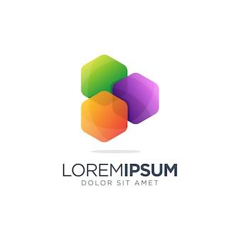 Esagono colorato logo design