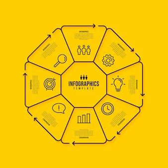 Modello di infografica esagonale con più opzioni, concetto di passaggi di visualizzazione dei dati aziendali, stile di icone di linea sottile su sfondo giallo