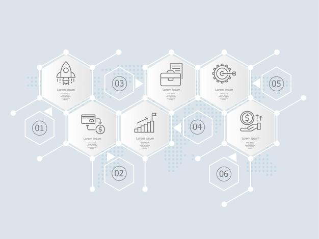 Modello di elemento di presentazione infografica esagonale con icone di affari