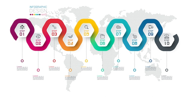 Etichetta esagonale con infografica collegata a linea di colore.