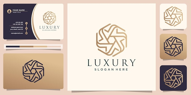 Hexagon line art tile motif pattern gold luxury logo design template