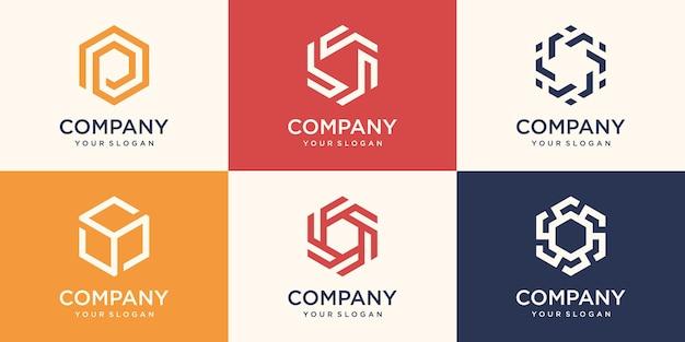 Design del logo esagonale con concetto di striscia, modello di logo esagonale