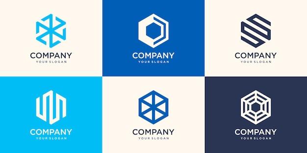 Design del logo esagonale con concetto di striscia, modello di logo aziendale moderno
