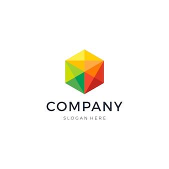 Logo hexagon pixel design