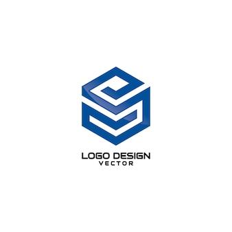 Hexagon s lettera line art logo design