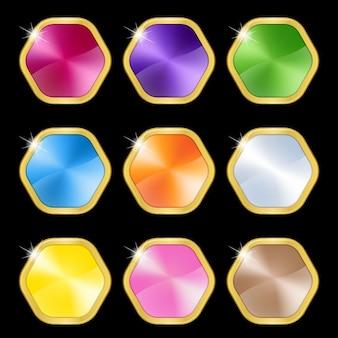 Esagono di metallo di colore set con icona cornice dorata