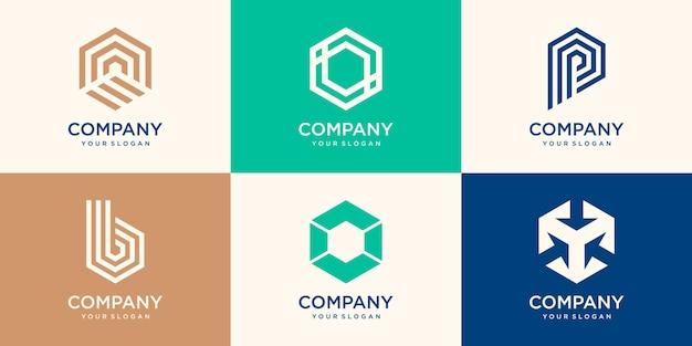 Elementi di design del logo a forma di esagono. simboli esagonali astratti