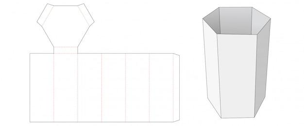Modello fustellato scatola contenitore snack a forma di esagono