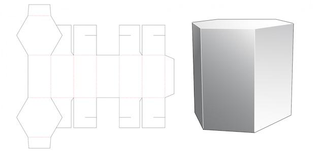 Modello fustellato scatola confezione snack a forma esagonale
