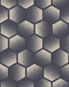 Esagono punteggiato modello senza cuciture tecnologia astratto sfondo disegnato a mano piastrellabile geometrica punteggiata texture