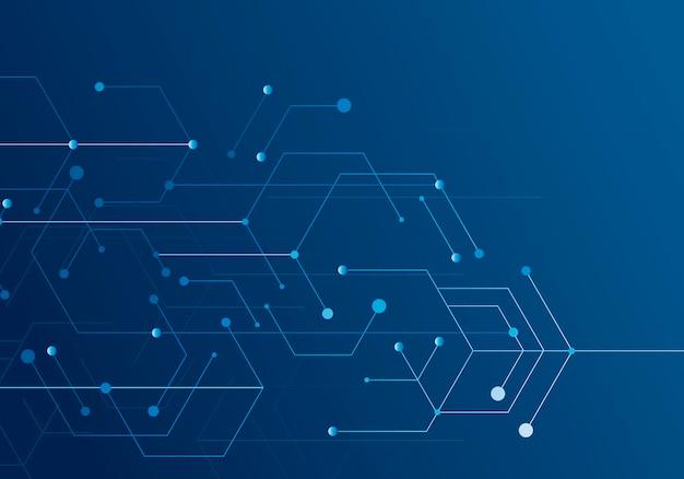 La tecnologia esagonale si collega in stile moderno su sfondo blu. rete di connessione a internet ad alta tecnologia digitale. progettazione grafica astratta di tecnologia del fondo.