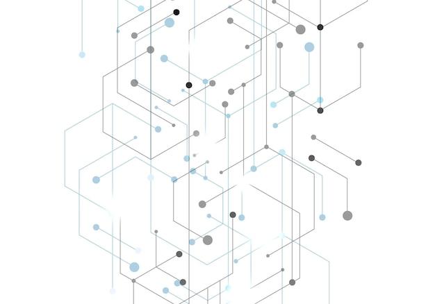 La tecnologia esagonale si connette in stile moderno su sfondo bianco. rete di connessione a internet ad alta tecnologia digitale. progettazione grafica astratta di tecnologia del fondo. modello di vettore.