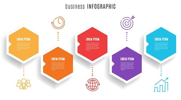Modello di infografica timeline esagonale 5 passaggi
