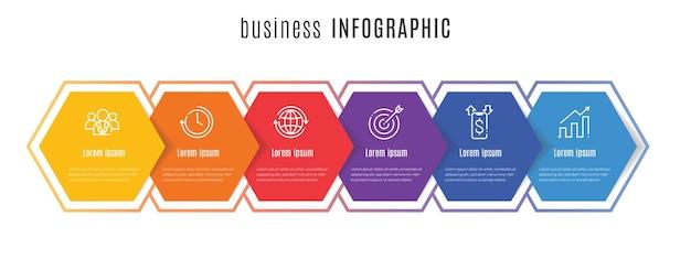 Modello di infografica timeline esagonale 6 passaggi