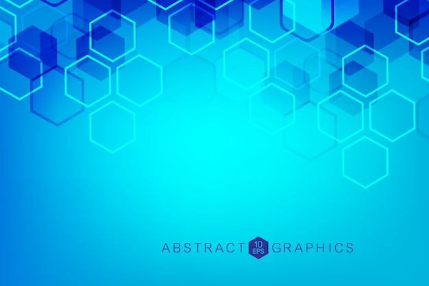 Sfondo astratto esagonale. visualizzazione dei big data. connessione di rete globale. medicina, tecnologia, background scientifico.