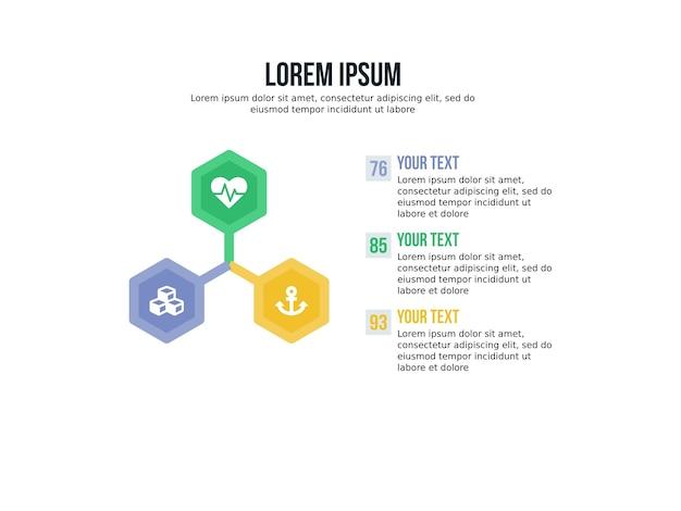 Diapositiva di presentazione e infografica di sfondo esagonale di sfondo