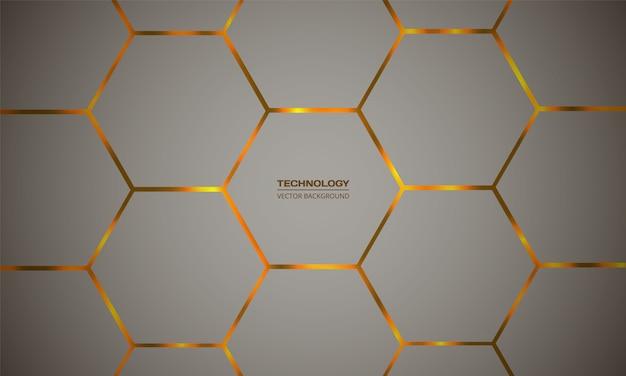 Sfondo astratto esagonale colorato vettoriale. lampi luminosi arancioni sotto la griglia a trama esagonale.