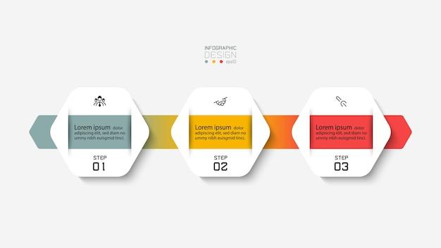 Il design esagonale di una con una barra colorata mostra informazioni e passaggi. progettazione infografica.