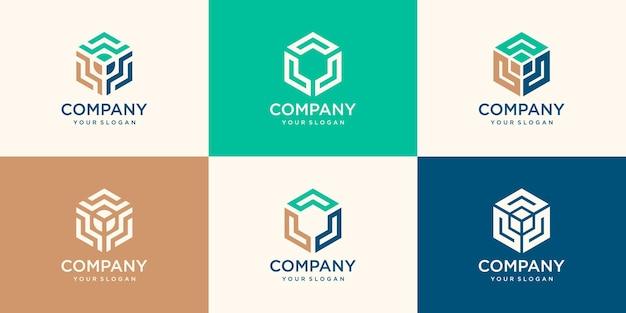 Elemento di design esagonale, modello di logo esagonale