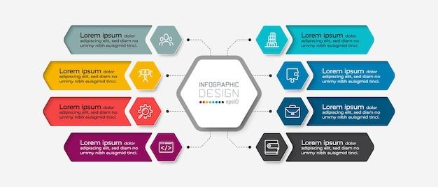 Progettazione infografica diagrammi esagonali.