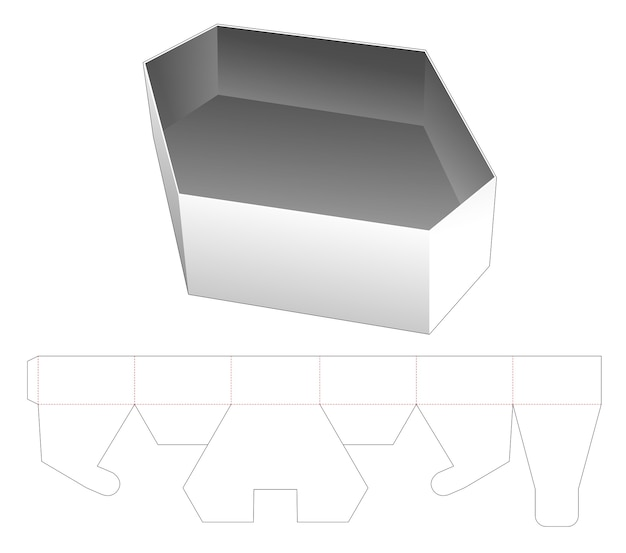 Modello fustellato di contenitore per alimenti esagonale