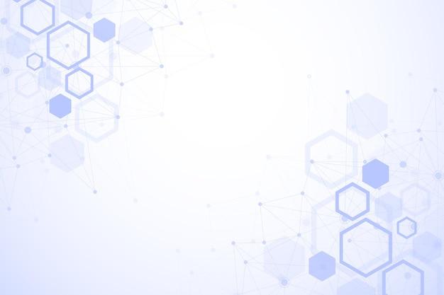 Sfondo geometrico esagonale. esagoni genetici e social network. modello geometrico futuro. presentazione aziendale per il tuo design e testo. concept grafico minimale. illustrazione vettoriale.
