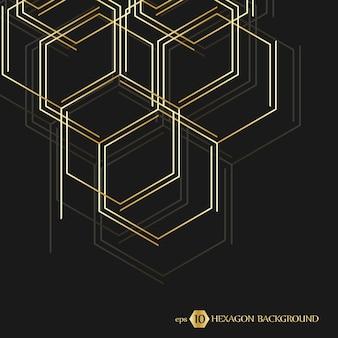 Connessione vettoriale di sfondo geometrico esagonale con linee e presentazione aziendale di social network...