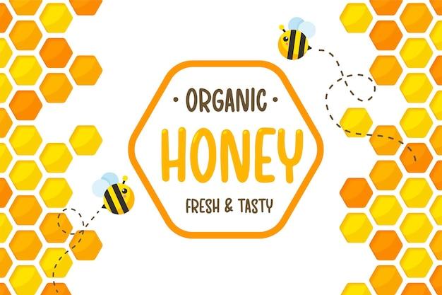 Fondo giallo dorato esagonale del taglio della carta del modello del favo con l'ape e il miele dolce all'interno.