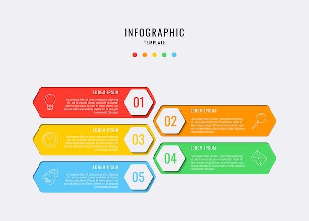 Elementi infografici esagonali con cinque passaggi, opzioni, parti o processi con caselle di testo e icone delle linee di marketing. visualizzazione dei dati per flusso di lavoro, diagramma, relazione annuale, web design. eps10