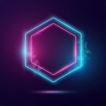 Concetto di luce al neon di forma esagonale