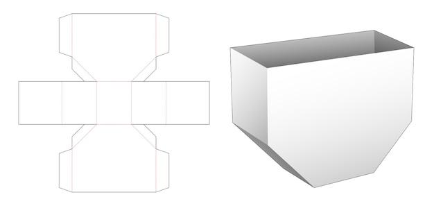 Modello fustellato contenitore snack di forma esagonale