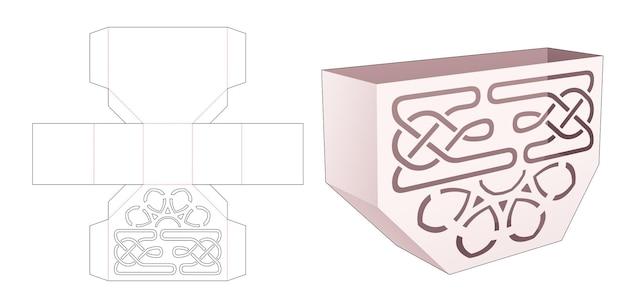Contenitore per snack di forma esagonale con modello fustellato a mandala stampato Vettore Premium