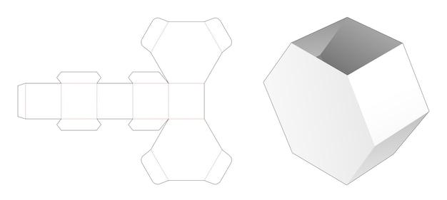 Modello fustellato di scatola di cancelleria di forma esagonale