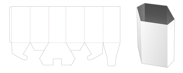 Modello fustellato di scatola di cancelleria esagonale