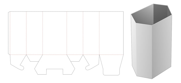 Modello fustellato di scatola alta di cancelleria esagonale