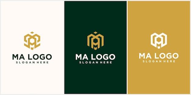 Tecnologia esagonale ma lettera ma logo iniziale design semplice esagono monogramma font design lusso disegno vettoriale icona logo
