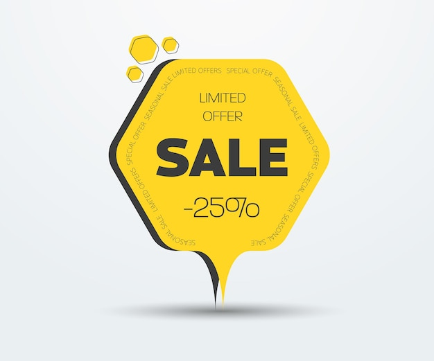 Modello di banner vettoriale esagonale per grande vendita e sconto del 25 percento. design adesivo con testo sul contorno. illustrazione vettoriale.