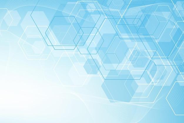 Fondo astratto di esagoni con forme geometriche. scienza, tecnologia e concetto medico. sfondo futuristico in stile scientifico. sfondo esadecimale grafico per il tuo design. illustrazione vettoriale.