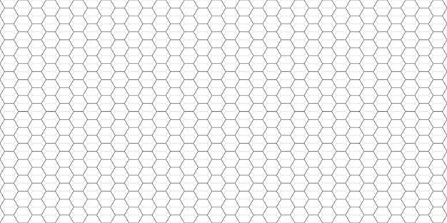 Fondo astratto di griglia di esagoni. modello esagonale grigio con sottili poligoni. trama geometrica lineare. illustrazione vettoriale esagonale.