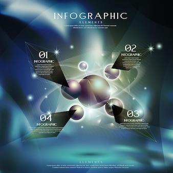 Modello di elementi infografici con sfera di metallo ad alta tecnologia