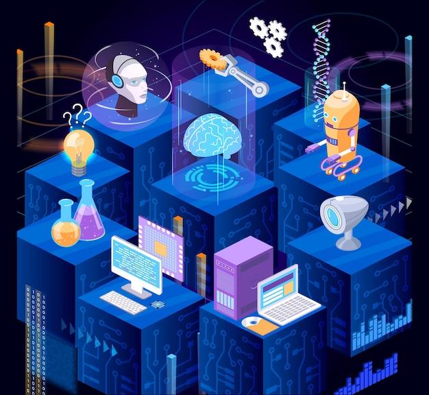 Hi tech ufficio futuristico flusso di lavoro isometrico. le persone moderne utilizzano la tecnologia di visualizzazione digitale, lo sviluppo robotico, la ricerca di laboratori scientifici, l'analisi di grafici, il vettore di miglioramento della codifica del programma