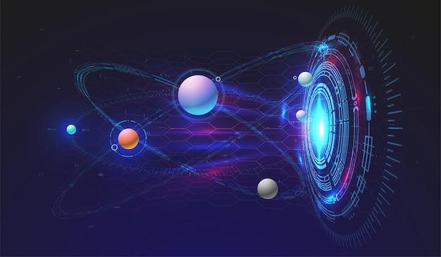 Background tecnologico hi-tech con elementi hud. design futuristico dell'interfaccia del cerchio. modello futuristico astratto. modello spaziale astratto.