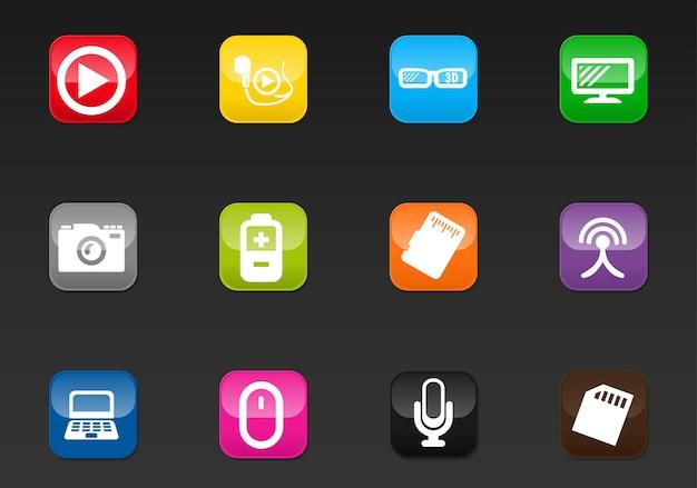Icone vettoriali ad alta tecnologia per il design dell'interfaccia utente