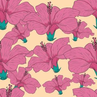 Illustrazione disegnata a mano di vettore del fiore di ibisco seamless pattern