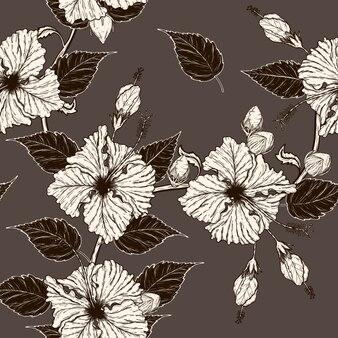 Disegno del modello di fiore dell'ibisco a mano