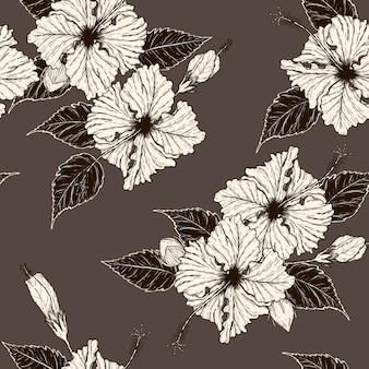Disegno senza cuciture del modello del fiore dell'ibisco a mano