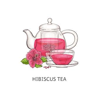 Tè di ibisco - bevanda rosa in tazza di vetro e teiera isolata