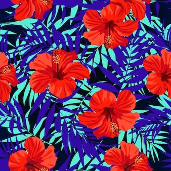 Ibisco fiori e foglie tropicali