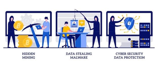 Mining nascosto, malware per il furto di dati, protezione dei dati di sicurezza informatica. set di criminalità informatica, minatore bot